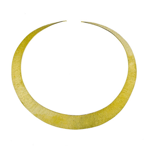 1960 Vintage 18k Yellow Gold Graduated Textured Necklace Collar
