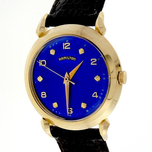 Vintage Self Wind 1960 Hamilton Strap Watch Bright Custom Colored Blue Dial 14k