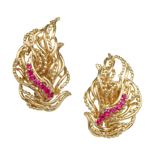 Vintage Tiffany + Co 18k Flame Design .70ct Ruby Clip Back Non Pierced Earrings