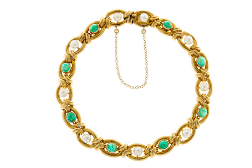 Vintage 1910 Victorian 14k Gold 9 Natural Pearl 8 Genuine Dome Emerald Bracelet