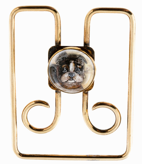 Estate 14k Yellow Gold Designer Tiffany & Co Crystal Boston Terrier Money Clip