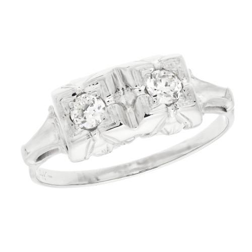 .16 Carat Diamond White Gold Art Deco Engagement Ring