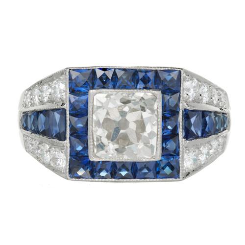 Antique Art Deco Engagement Ring 1.48ct Cushion Cut Diamond Platinum Diamond