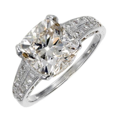 3.01ct Natural Light Pink Brown Diamond Platinum Engagement Ring