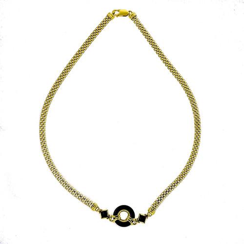 Vintage 1960 Black Onyx Green Chrysoprase Chain Necklace