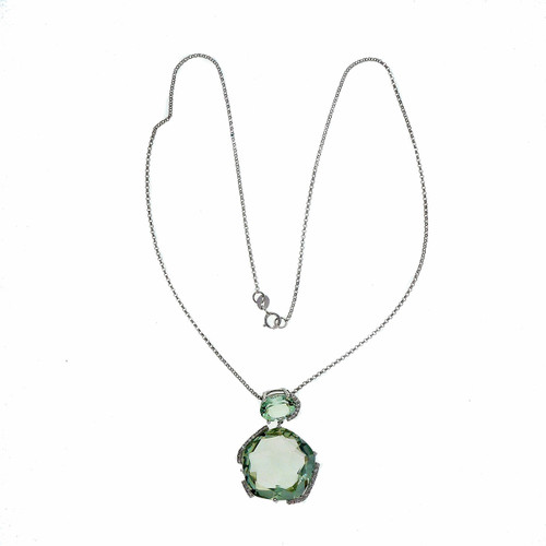 1980 Free Form Gray Green Quartz 14k White Gold Dangle Pendant Diamond