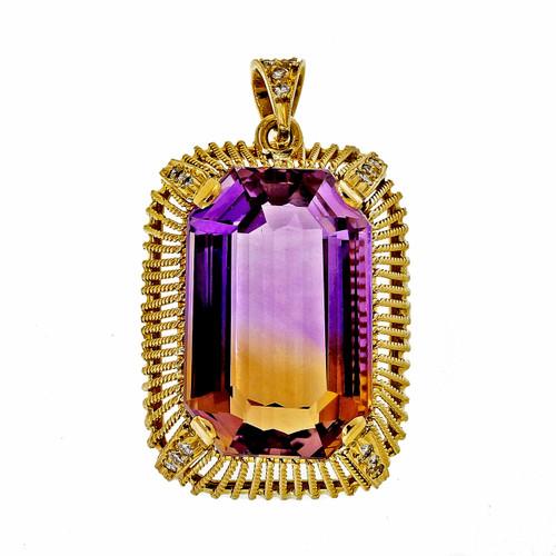 Vintage 1950 18k Yellow Gold 25.00ct Ametrine Diamond Pendant