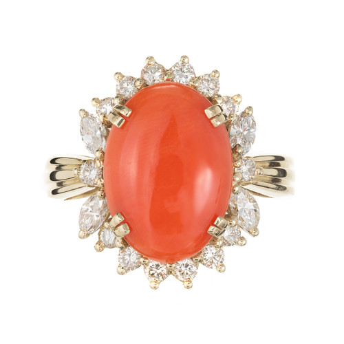 Vintage Mid Century Certified Natural Orange Coral 14k Yellow Gold Diamond Ring