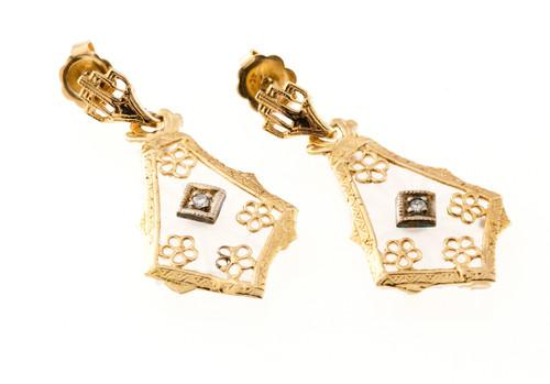 Vintage Estate 1940 14k Yellow Gold Crystal Diamond Dangle Earrings