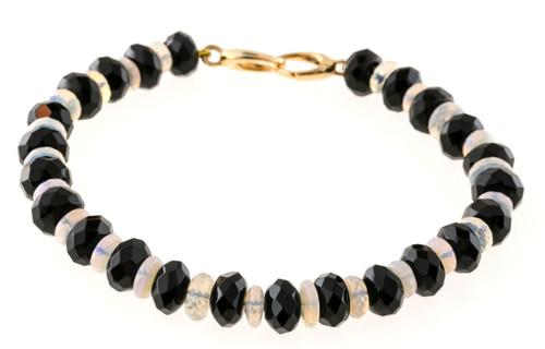 Vintage Estate Onyx Crystal Opal Rondelle Bracelet 7 3/4 Inches 14k Gold Catch