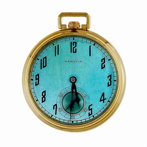 Hamilton Pocket Pendant 14k Watch Refinished Custom Colored Light Blue Dial