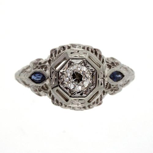 Art Deco .18 Carat Diamond Sapphire White Gold Engagement Ring