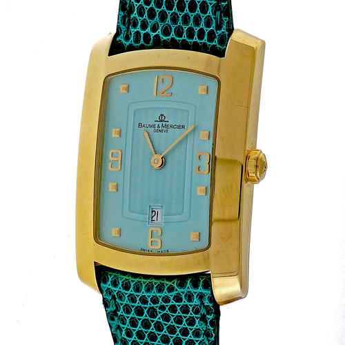 Baume & Mercier 18k Yellow Gold Capetown Automatic Watch Custom Blue Dial