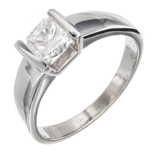 Estate 1.00ct Radiant Cut 14k White Gold Engagement Ring