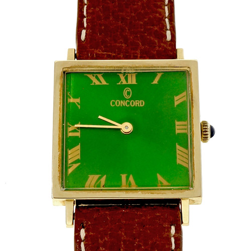Concord Square 14k Gold Strap Watch Refinished Custom Colored Bright Green Dial