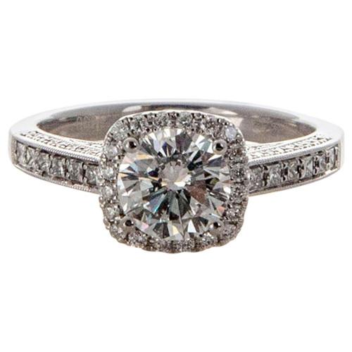 Engagement Sylvie Cushion Halo 1.14ct Round Platinum Diamond Ring