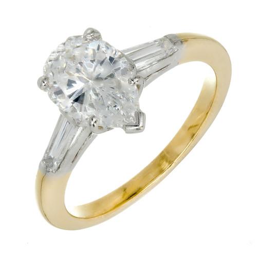 Vintage Pear Shape 1.45ct Ideal Diamond Oscar Heyman 18k Platinum Ring