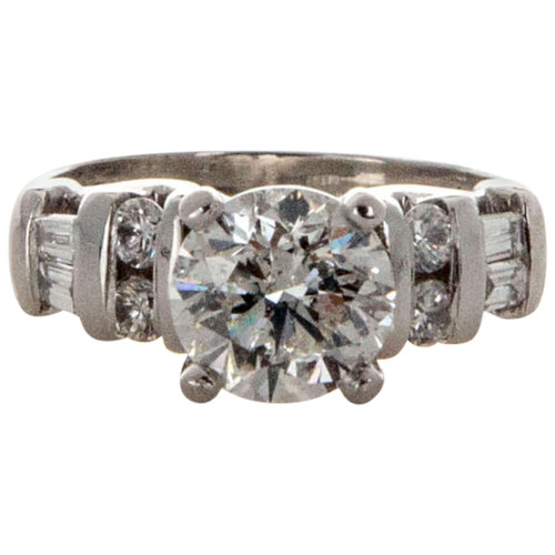 Vintage 2.00ct Round Diamond Platinum Ring Round and Baguette Side Stones