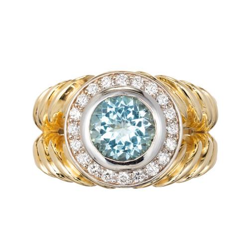 1.63 Carat Aquamarine Diamond Halo Two-Color Gold Swirl Cocktail Ring