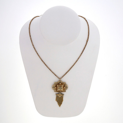 Victorian Pearl Yellow Gold Black Enamel Tassel  Pendant Necklace