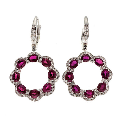3.33 Carat Ruby Diamond White Gold Dangle Earrings