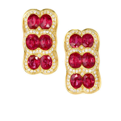 SPARK Top Blood Red Gem Ruby .76ct Diamond 18k Yellow Gold Earrings