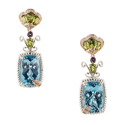 Bellari Dramatic 22.00ct Silver Pink Gold Dangle Earrings Peridot Diamond