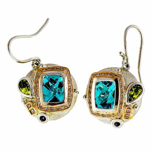 Bellari 2.50ct Blue Topaz Silver Pink Gold Diamond Peridot Dangle Earrings