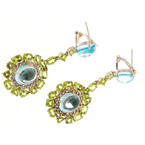 Bellari 10.30ct Blue Topaz Peridot Silver Pink Gold Dangle Earrings