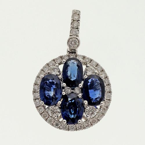 ED 2.21 Carat Diamond Sapphire White Gold Circle Pendant