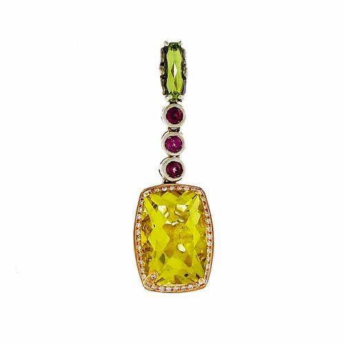 Bellari Silver Pink Gold 18.75ct Prasiolite Quartz Peridot Dangle Pendant
