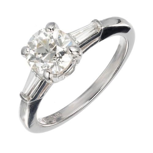 Vintage Old European Cut Engagement Ring .90ct Platinum Baguette Sides