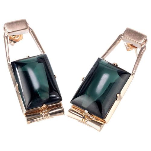 Art Deco Retro 24 Carat Emerald Cut Cabochon Green Tourmaline Dangle Earrings