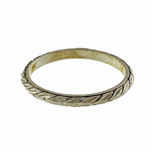 1930 Vintage Platinum Wheat Design Engraved Samos Wedding Band Ring