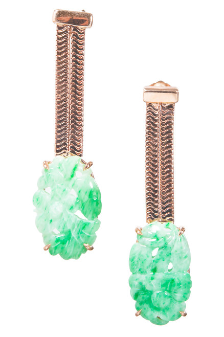 Peter Suchy GIA Certified Jadeite Jade Rose Gold Dangle Earrings