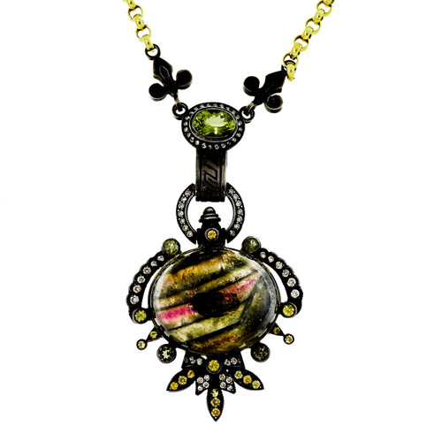 30.60 Carat Etruscan Tourmaline Diamond Silver Yellow Gold Necklace Pendant