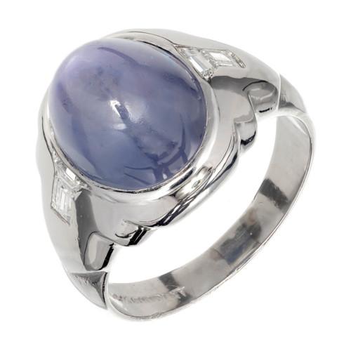 Natural Star Sapphire 6.50ct Art Deco Violet Blue Platinum Men's Ring 1920