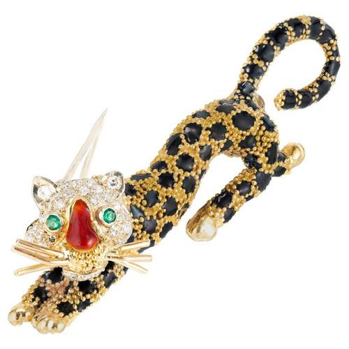 Emerald Diamond Enamel Yellow Gold Leopard Brooch