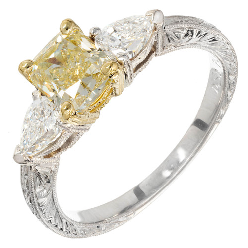 Peter Suchy Light Yellow Radiant Cut Diamond Platinum Engagement Ring