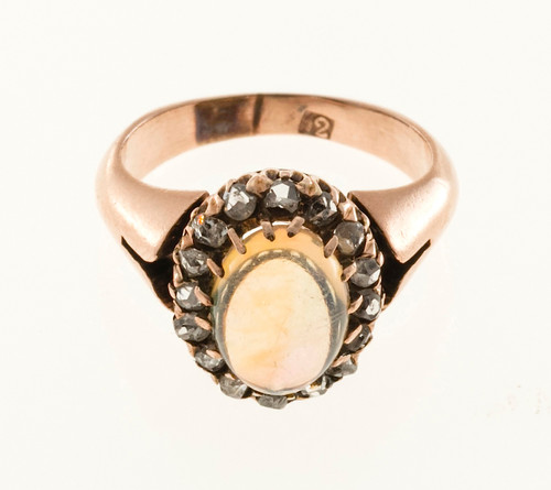 Estate Rare 1820s 14k Rose Gold Crystal Cabochon Opal and Rose Cut Diamond Ring