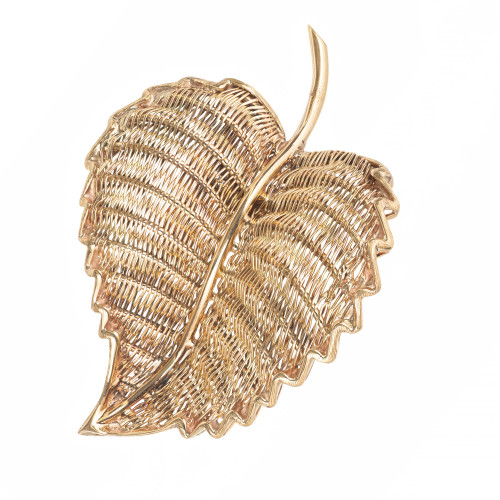 Tiffany & Co. Yellow Gold Mid-Century Wire Leaf Brooch