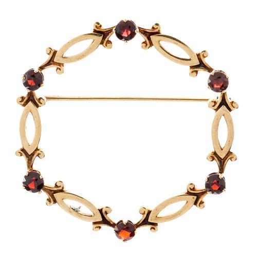 Estate 14k Yellow Gold Designer Tiffany & Co Round Garnet Circle Pin