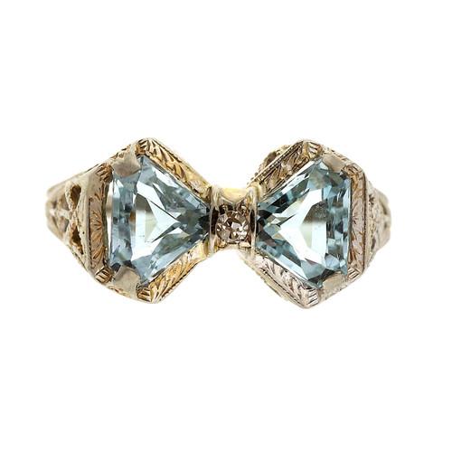 Art Deco 1.00 Aqua Diamond  White Gold Double Triangle Filigree Ring