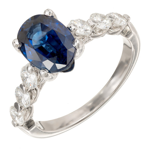 Peter Suchy GIA 2.27 Carat Blue Oval Sapphire Diamond Platinum Engagement Ring