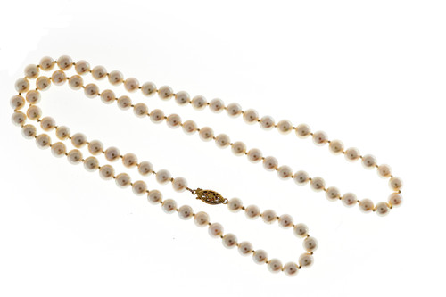 Estate 7mm Akoya Cultured Pearl 26 Inch Strand Necklace 14k Yellow Gold Catch