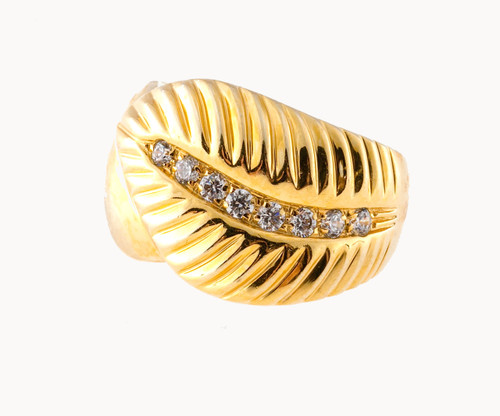 Estate 1960 18k 8 Diamond Leaf Ring