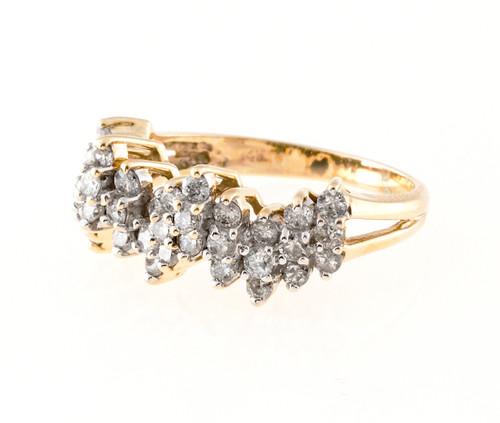 Estate Three Row  14k Diamond Wave Ring