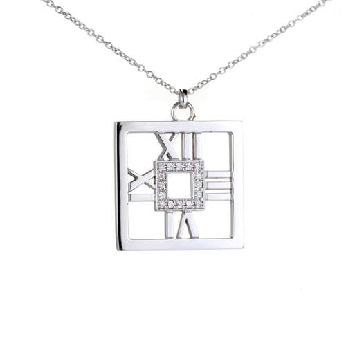 Tiffany & Co Atlas 18k White Gold Pendant Necklace .22ct Diamond Square