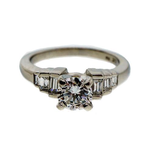 Estate Diamond Engagement Ring .65ct Platinum Baguette Sides
