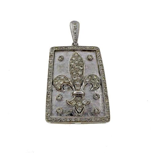 18k White Gold 1.30ct Diamond Fleurs De Lis Pendant